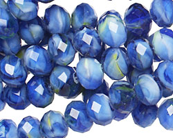 Cobalt Swirl Crystal Faceted Rondelle 8mm