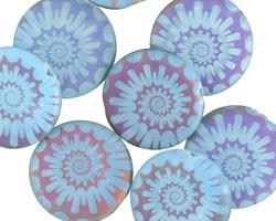 Czech Glass Laser Etched Ammonite on Aquamarine w/ Rainbow Finish Coin 16mm