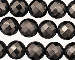 Hematite Faceted Round 12mm
