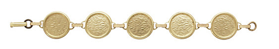 Brass Circle Bezel Link Bracelet 22mm