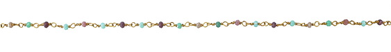 Zola Elements Turquoise & Lavender Crystal Bead Link Brass Chain