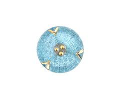 Czech Glass Azure w/ Gold Wildflower Button 18mm
