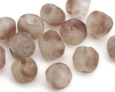 African Recycled Glass Clear w/ Plum Tumbled Round 12-15mm