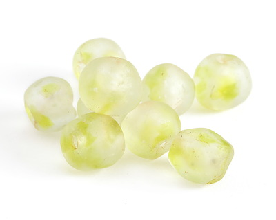 African Recycled Glass Celery Tumbled Round 12-14mm