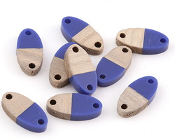 Wood & Indigo Resin Oval Focal Link 17x8.5mm