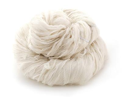 Ivory Silk Chiffon Ribbon Yarn