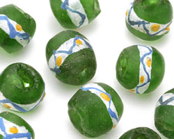 African Recycled Glass Olive Green w/ Painted Band Tumbled Round 13-15mm