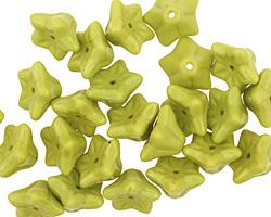 Czech Glass Wasabi Green 5 Point Bellflower 6x9mm