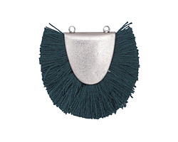Zola Elements Antique Silver (plated) Teal Fringed Focal Link 31x25-29mm