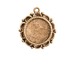 Nunn Design Antique Gold (plated) Mini Ornate Circle Bezel Pendant 19x22mm