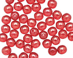 Czech Glass Luster Siam Ruby Round 6mm