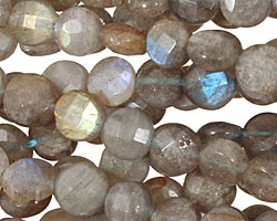 Labradorite Faceted Coin 8mm