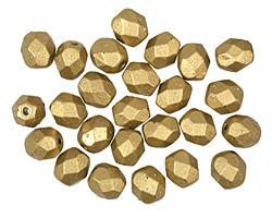 Czech Fire Polished Glass Matte Metallic Aztec Gold Round 6mm