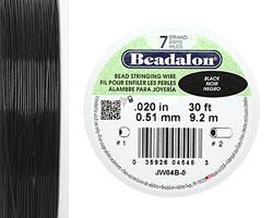"Beadalon Black .020"" 7 Strand Wire 30ft."