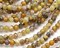 Yellow Moss Agate Round 4mm