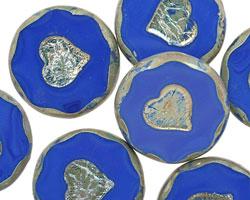 Czech Glass Cobalt Bronzed Picasso Heart in Coin 21mm