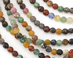 Multi Gemstone (Red Jasper, Dalamation Jasper, Opalite, Aventurine) Faceted Round 6mm