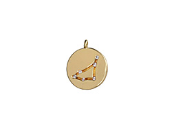 Gold (plated) w/ Crystals Capricorn Constellation Charm 11x13mm
