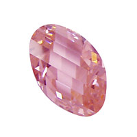 Pink Peony Faceted Twisted Oval 15x17mm