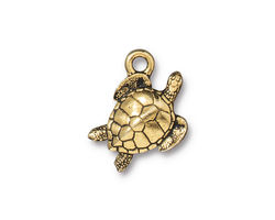 TierraCast Antique Gold (plated) Sea Turtle Charm 13x19mm