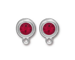 TierraCast Rhodium (plated) Stepped Bezel Ear Post w/ Siam Ruby Crystal 12x17mm