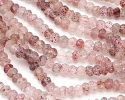 Strawberry Quartz Faceted Rondelle 4mm