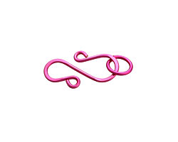 Hot Pink Enameled Copper S Clasp 20x13mm, 8mm ring