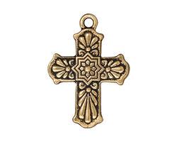 TierraCast Antique Gold (plated) Talavera Cross 22x30mm