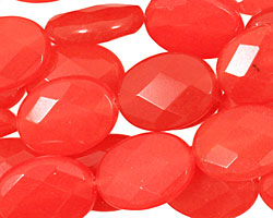 Tangerine Tango Jade Faceted Flat Oval 20x15mm