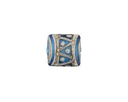A Beaded Gift Silvered Aqua Tribal Pattern Glass Puff Pillow 15mm
