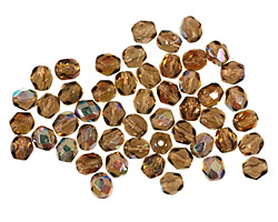 Czech Fire Polished Glass Smoky Topaz AB Round 4mm