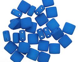 Czech Glass Dark Neon Mykonos Blue 2-Hole Tile 6mm