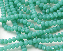 Opaque Green Opal Crystal Faceted Rondelle 3mm