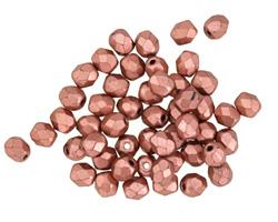 Czech Fire Polished Glass Matte Metallic Bronze Copper Round 4mm