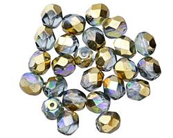 Czech Fire Polished Glass Light Sapphire AB w/ Gold Round 6mm