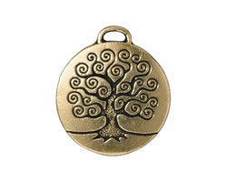 TierraCast Antique Gold (plated) Tree of Life Pendant 24x26mm