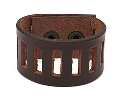 Brown Leather Ladder Cuff 1 3/8""
