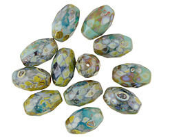 Czech Glass Earth Picasso Faceted Rice 12x8mm