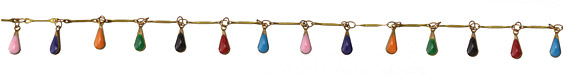Zola Elements Brass Bar Chain w/ Multi Color Teardrops