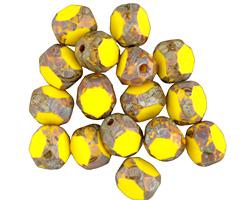 Czech Glass Lemon Picasso Trica Beads 8x7mm