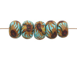 Humble Beads Polymer Clay Sunflower Tiny Disk 7x9-10mm