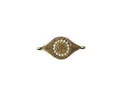 Clear Pave CZ Antique Brass (plated) Evil Eye Focal Link 22x11mm