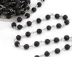 Lava Rock Round 6mm Silver Finish Bead Chain