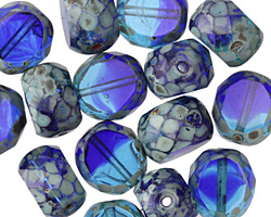Czech Glass Mediterranean Picasso Slice Faceted Round 12mm