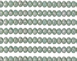 Czech Glass Mint w/ Mercury Fire Polished Rondelle 3x5mm