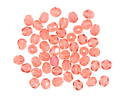 Czech Fire Polished Glass Milky Pink Round 4mm