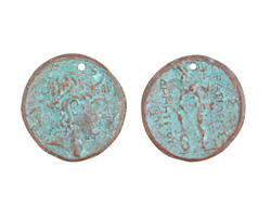 Greek Copper (plated) Patina Alexander Coin Pendant 26x27mm