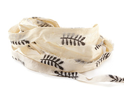 Ivory w/ Black Feather Print 100% Silk Sari Ribbon