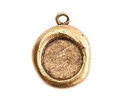 Nunn Design Antique Gold (plated) Crest Seal Bezel Pendant 19x25mm