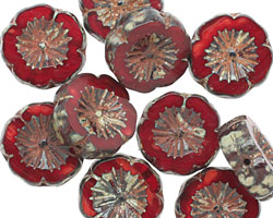 Czech Glass Pomegranate Picasso Hibiscus Coin 15mm